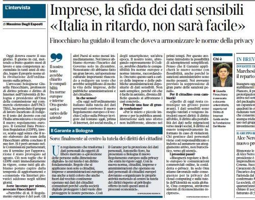 """Il Corriere intervista Giusella Finocchiaro: """"Imprese, la sfida dei dati sensibili: Italia in ritardo, non sarà facile"""""""