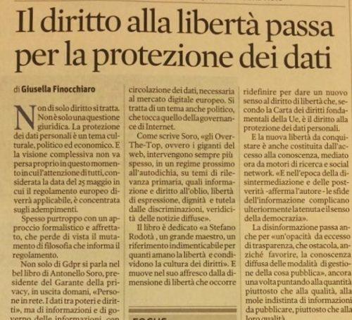 """Il Sole 24 Ore: """"Il diritto alla libertà passa per la protezione dei dati"""""""