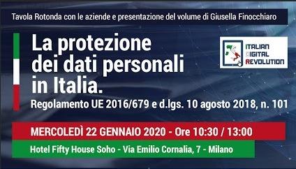 """Tavola rotonda: """"La protezione dei dati personali in Italia"""" – Milano, 22 gennaio 2020"""