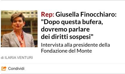 """La Repubblica intervista Giusella Finocchiaro: """"Dopo questa bufera, dovremo parlare dei diritti sospesi"""""""
