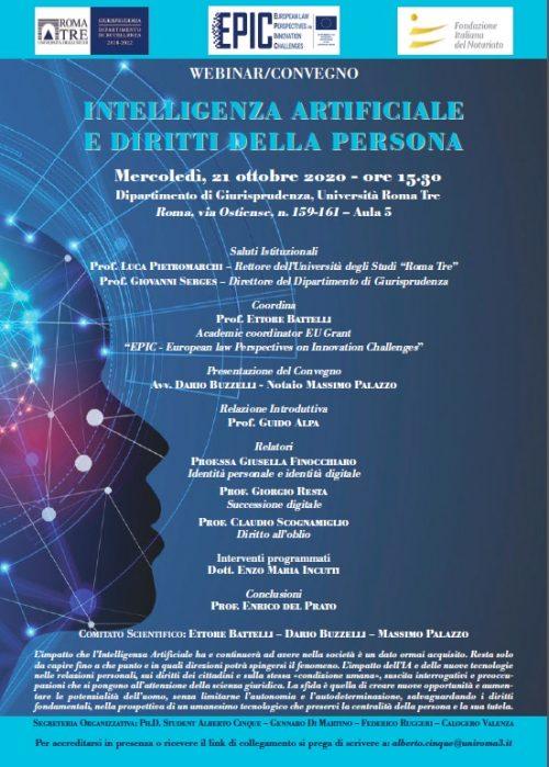 """Webinar: """"Intelligenza Artificiale e diritti della persona"""", Roma – 21 Ottobre 2020"""